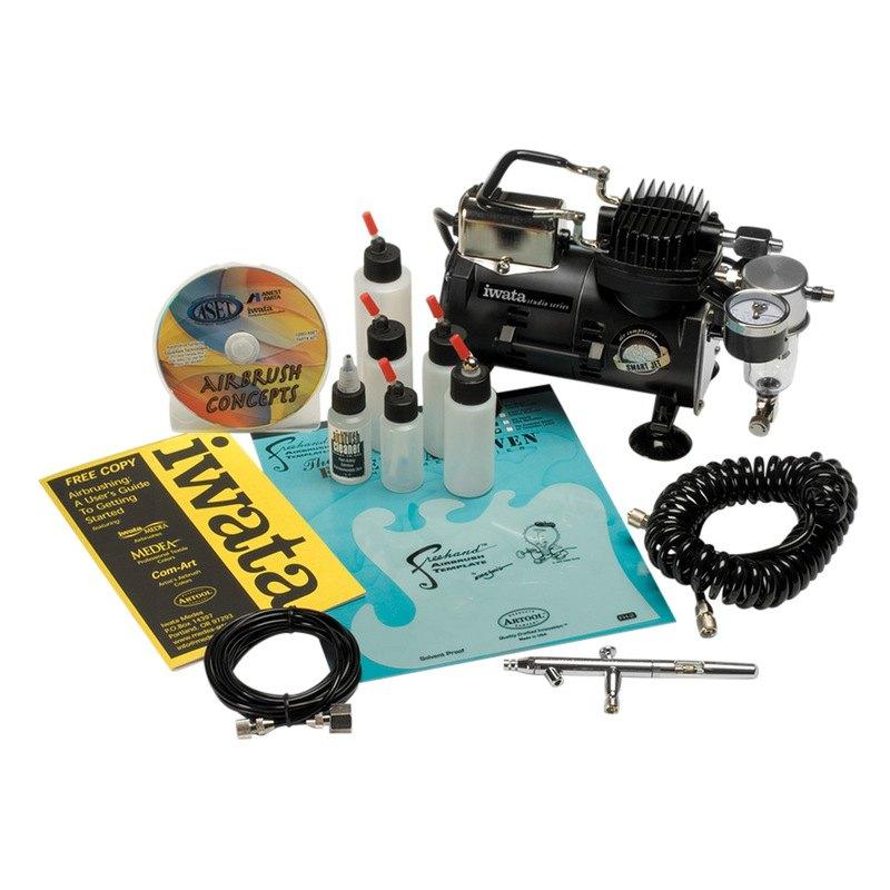 Iwata Airbrush Kit >> Aset Iwata 4210 Automotive Bottom Feed Airbrush Kit With Compressor