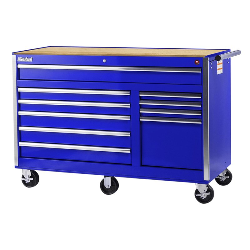 International Tool Boxes Vrb 5610wtbu Tech Blue Wood Top Rolling