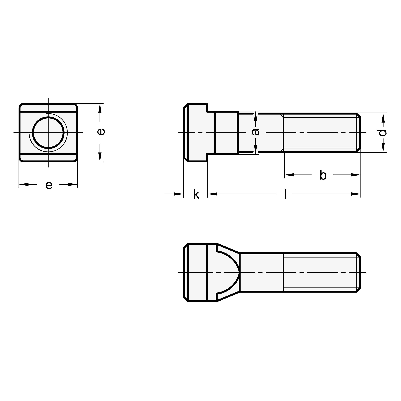 Winco A80382 DIN787 T-Slot Bolt J.W Steel M8 x 8 x 80 mm