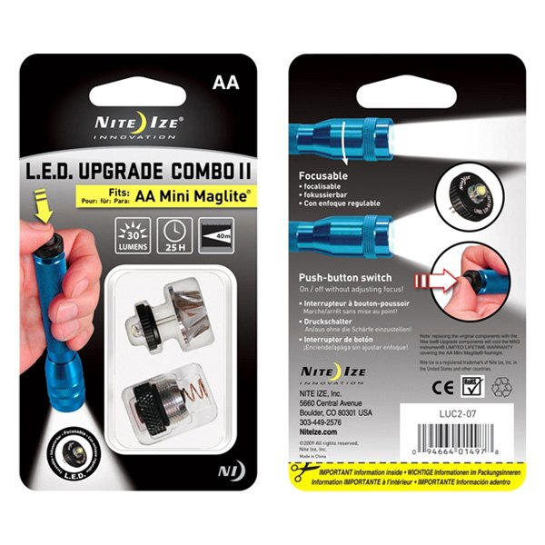 Nite Ize® LUC2-07 - Mini Maglite™ Flashlight LED Upgrade Combo II Kit with  Push Button On/Off Tail Cap Switch