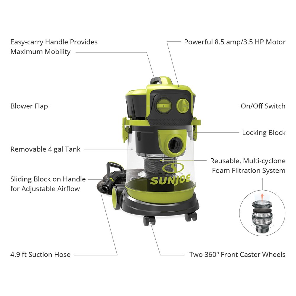 Sun Joe® SWD4000 - 4 gal  Corded Wet/Dry 3 5 hp 120V Industrial Motor  Wheeled Canister Vacuum Cleaner