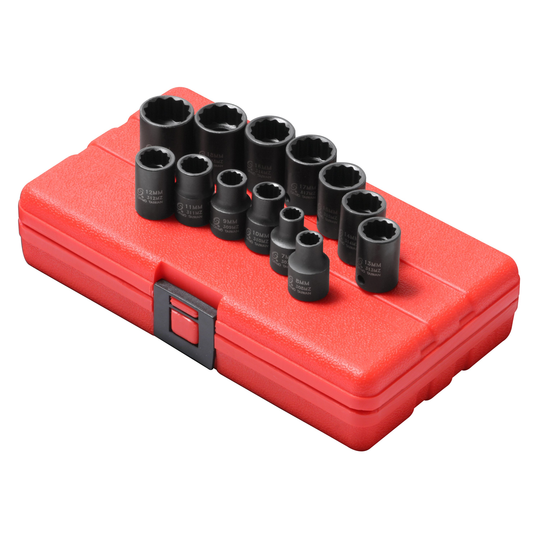 19 Piece Sunex International Sunex 2819 1//2-Inch Drive 12-Point SAE Impact Socket Set