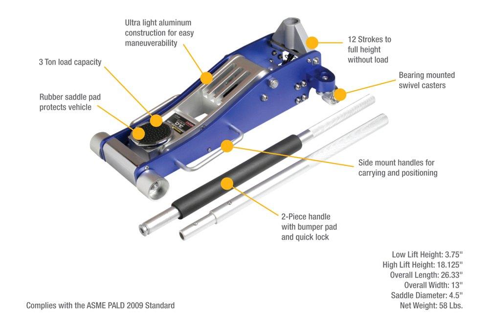 Sunex 174 Alj3t Arcan 3 Ton Aluminum Floor Jack Toolsid Com