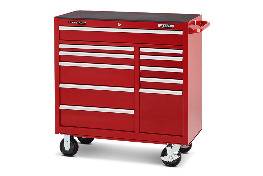 ... Waterloo®   46 Professional HD Series 12 Drawer Cabinet In Red Finish